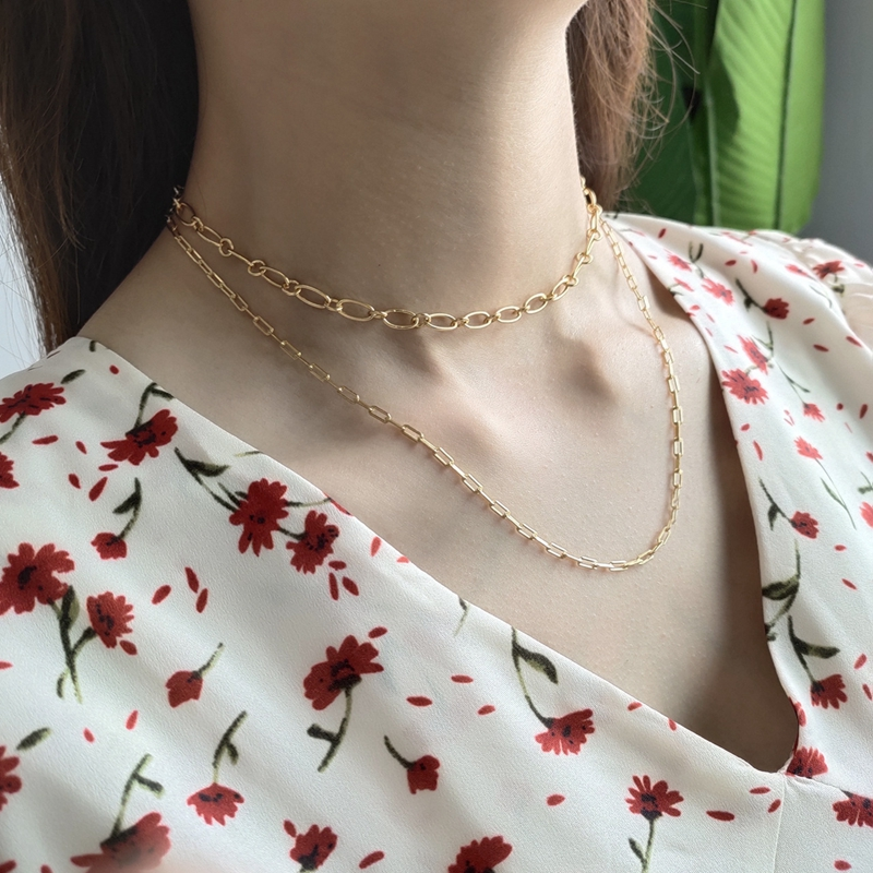 LouLeur 925 Sterling Silver Chain Choker Necklace Gold High Quality Texture Elegant Necklace For Women Girls Friendship Jewelry
