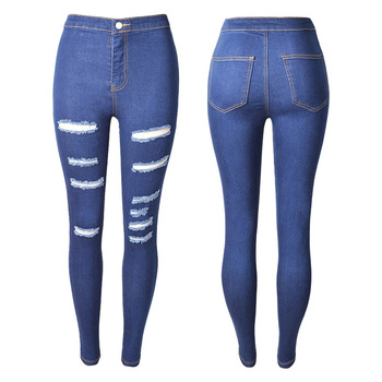 Casual Women Jeans High Waist Skinny Elastic Stretch Ripped Hole Cropped Slim Jeans Pencil Denim Pants Plus Size coyote valley 2017 hot style fine elastic jeans women s cotton hole in pencil and feet high quality jeans high waist jeans
