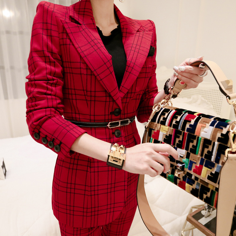Enthusiastic New Arrival Women Professional Temperament Single Breasted Fashion Warm Solid Suit Work Style Slim Pant Comfortable Pant Suits To Be Renowned Both At Home And Abroad For Exquisite Workmanship, Skillful Knitting And Elegant Design