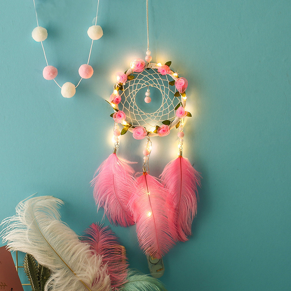 Handmade Dreamcatcher  Feathers Night Light Car Wall Hanging Decor Room Home Decor Dec5 Drop Ship dream catcher pink flowers