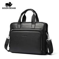 BISON DENIM Fashion Luxury Genuine Leather Bag Men Handbag Shoulder Bags Business Men Briefcase Laptop Bag
