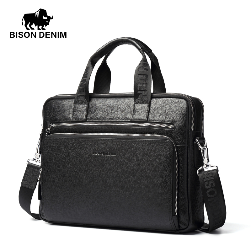 где купить BISON DENIM fashion luxury genuine leather bag men handbag shoulder bags business men briefcase laptop bag по лучшей цене
