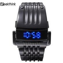 2017 geekthink marca hombres relojes deportivos militar led digital de moda al aire libre de lujo hierro hombres reloj de acero llena masculino relojes de pulsera