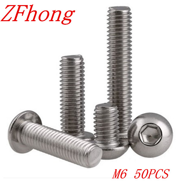 20PCS ISO7380 M6*8/10/12/14/16/18/20/22/25/28/30/35/40/45/50/60/70/80 6mm Stainless Steel Hexagon Socket Button Head Screw 7380 fan7380 sop 8