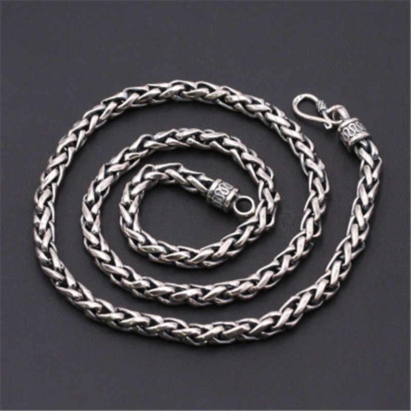 6mm Largo 100% Pure 925 Sterling Silver Catene Collane per Gli Uomini Collana In Argento Accessori 18-32 pollice