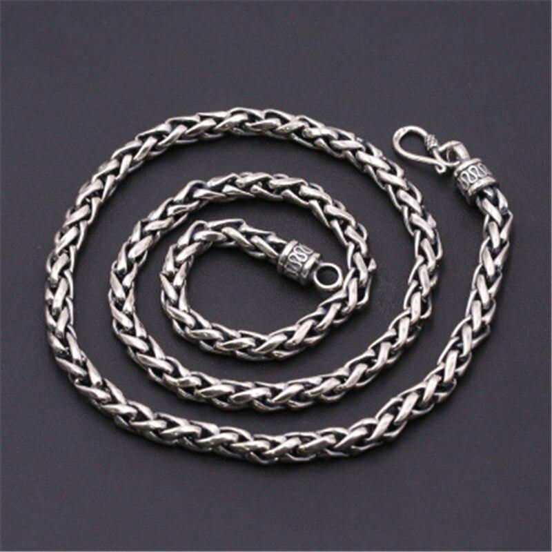 6mm de large 100% pur 925 en argent Sterling chaînes colliers pour hommes en argent Sterling collier accessoires 18-32 pouces - 2