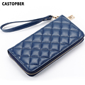 Designer Fashion Women Split Leather Quilted Wallet Cowhide Ladies Day Clutches Female Famous Brand High Quality Bags Handbags