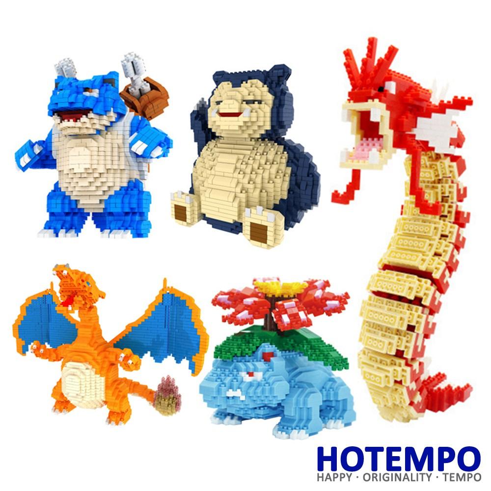 HOTEMPO Anime cartoon Venusaur Blastoise Charizard Snorlax Gyarados Building Blocks Model Bricks Educational Toys for Children lno 217pcs charizard pokemon building block
