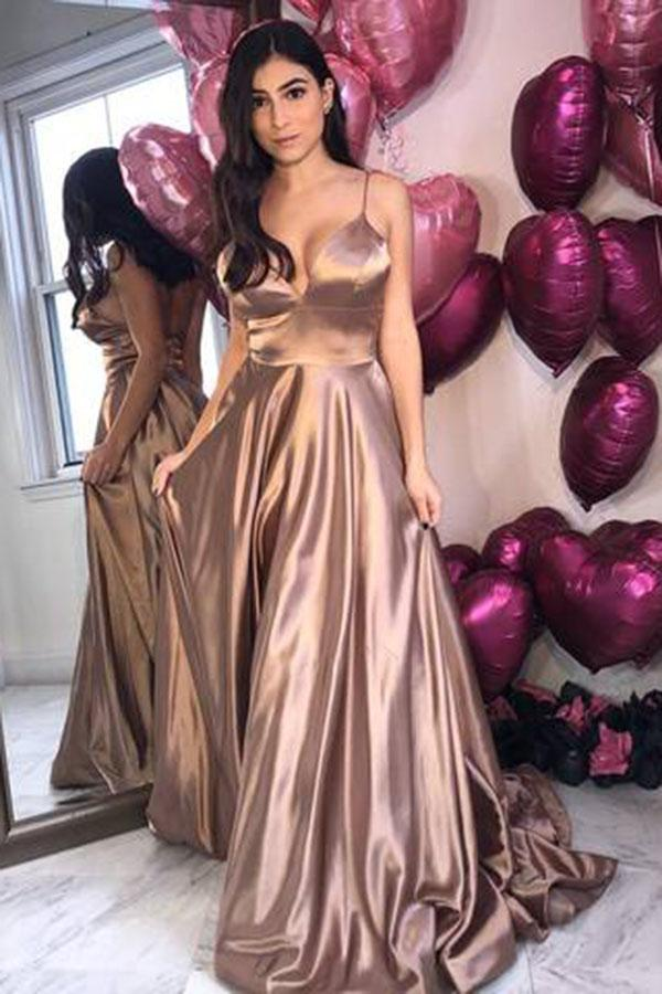 V Neck Simple Satin   Prom     Dresses   with Low Back Spaghetti Straps   Prom   Evening Gowns