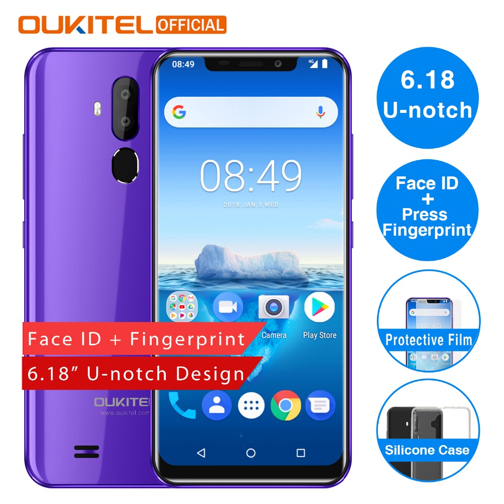 OUKITEL C12 Pro 6 18 19 9 Fingerprint Android 8 1 Mobile Phone MT6739 Quad Core
