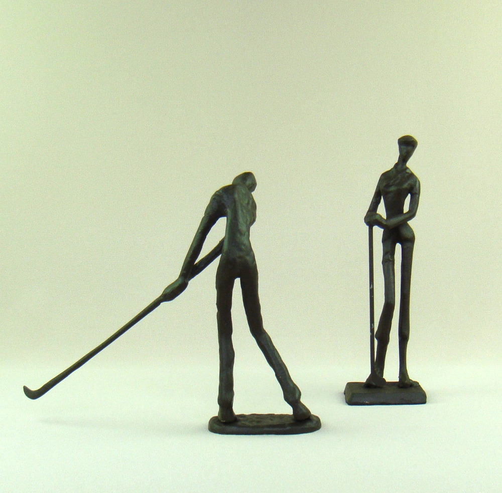 Abstract Metal Golf Lovers Figurines Ornamental Cast Iron Linksman Sculpture Craftworks for Home Decor and Valentine