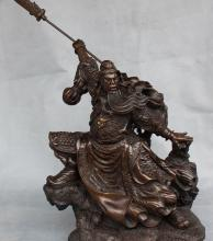 27″ Chinese Pure Bronze Guan Gong Yu Warrior Dragon Guangong Hold Knife Statue