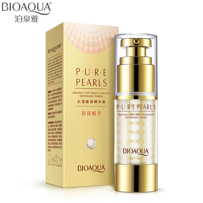 BIOAQUA Brand Pure Pearl Collagen Hyaluronic Acid Face Skin Care Moisturizing Hydrating Anti Wrinkle Anti Aging Essence 35ml argireline matrixyl 3000 peptide cream hyaluronic acid ha wrinkle collagen firm anti aging skin care equipment free shipping
