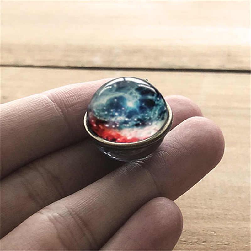 星雲銀河両面ペンダントネックレスガラスアートピクチャー手作りステートメント宇宙惑星ジュエリーネックレス