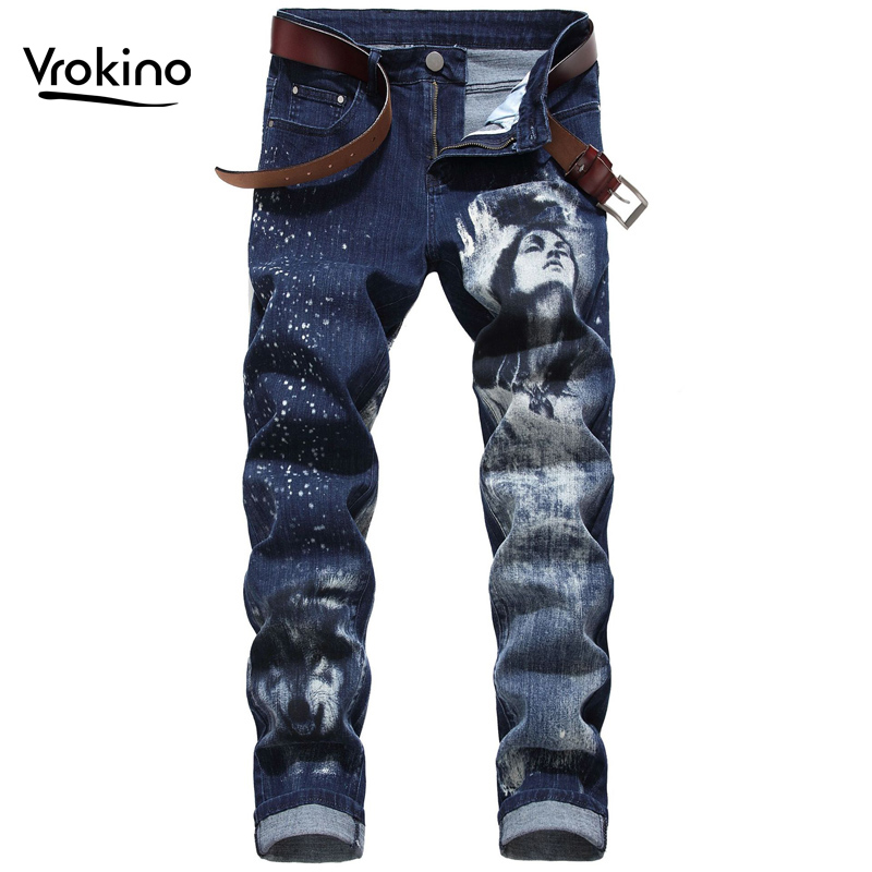 VROKINO 2019 Spring And Autumn New Fashion Men's 3D Pattern Jeans Men's High Quality Printed Stretch Slim Jeans Large Size  42