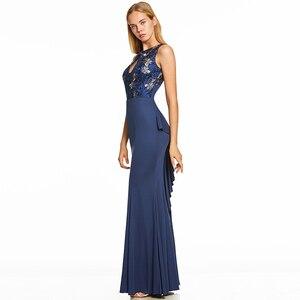 Image 2 - Vestido de noche largo azul real oscuro, Espalda descubierta, barato, con cuello redondo, para fiesta de boda, formal, bordado