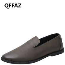 QFFAZ Mens Casual Shoes Genuine Leather Spring Men Flat Walking Loafers Man Black men leather loafers Slip on man wedding shoes