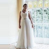 Elegant V neck Chiffon Wedding Dresses Turkey 2019 Custom Made Bridal Dress Wedding Gown with Belt vestidos de noiva Plus size