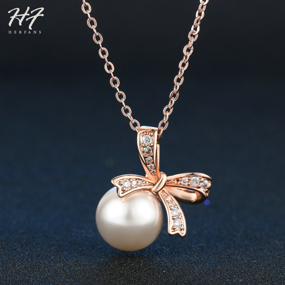 Top Quality Rose Gold Color CZ Butterfly with Imitation Pearl Pendant Chain Necklace Jewelry for Women Wholesale N052