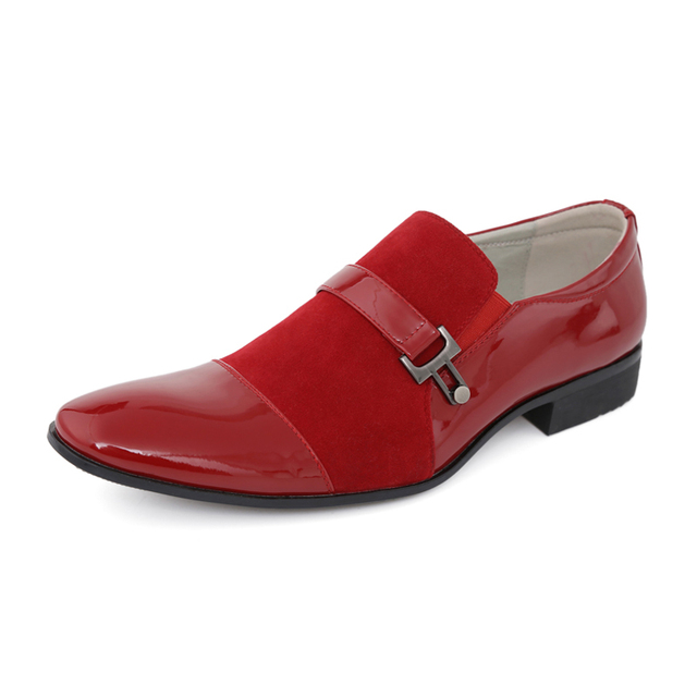 Italian Fashion Oxford Shoes Red/Blue/Black/Brown/Gray Wedding Party Luxury Dress Shoes Office Shoes