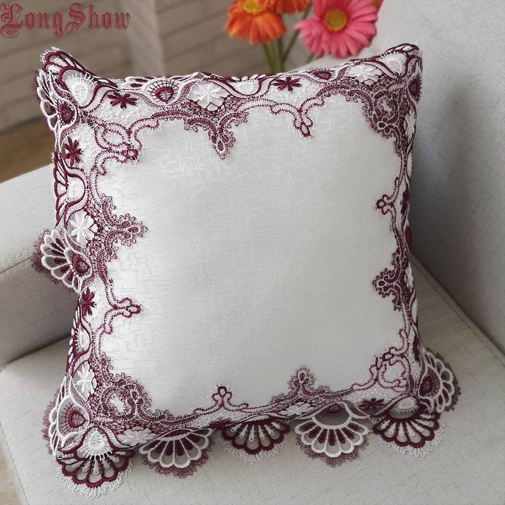 Home Decorative Creative Burgundy Embroidered Christmas Bells Lace Pillow Case 45x45cm Square Thick Polyester Pillow Cover