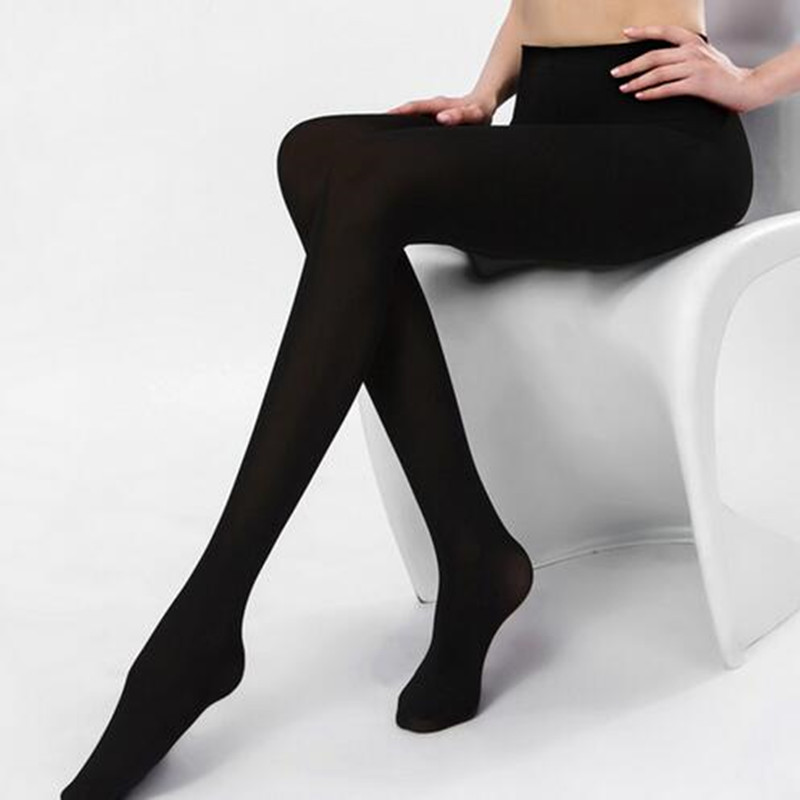 2017 2Pcs Women 200D Thick Warm Cotton Tights Girl s Warm Cotton Pantyhose in Solid Black