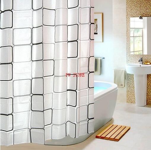 Fyjafon PEVA Bathroom Shower Curtains Water Proof Bath Curtain Plaid Pattern