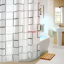 PEVA Bathroom Shower Curtains Water Proof Bath Curtain Plaid Pattern