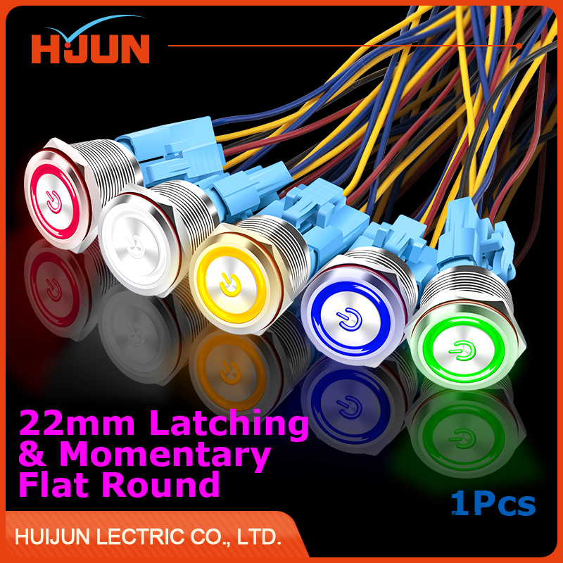 1pcs 22mm Waterproof Momentary & Latching Stainless Steel Metal Push Button Switch Icon LED Light Shine Car Horn Auto Reset Lock 1 x 16mm od led ring illuminated latching push button switch 2no 2nc