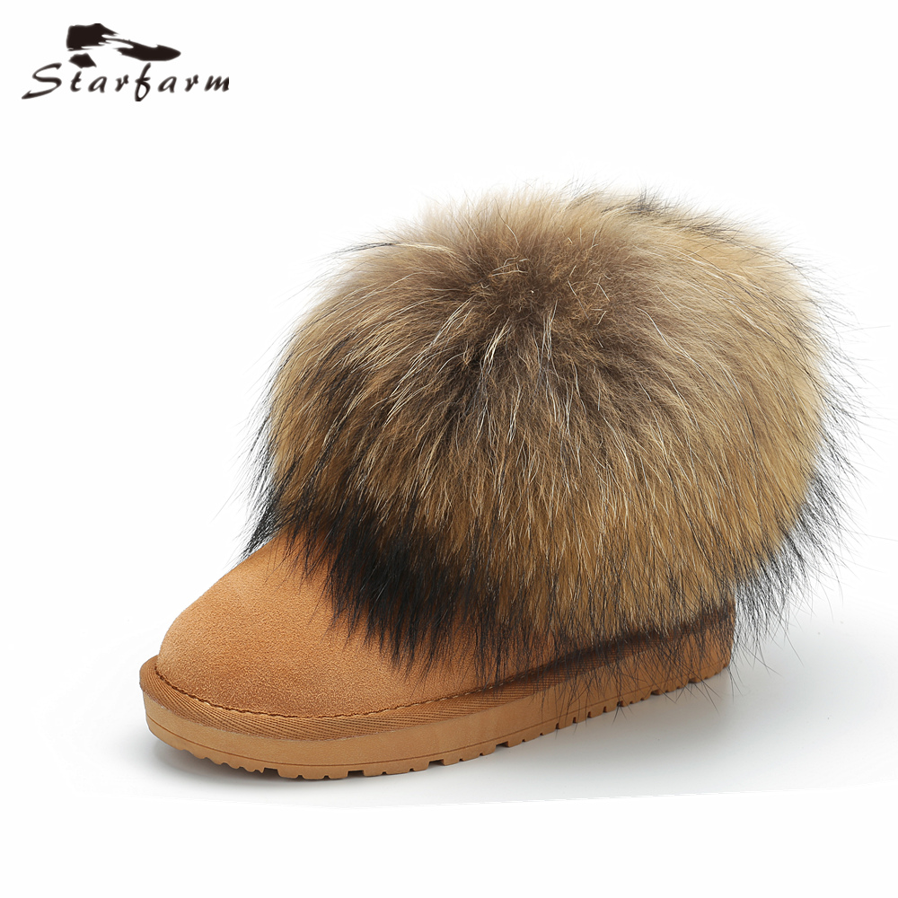 STARFARM Genuine Leather Snow Boots Big Fox Fur Boots Ankle Boots Winter Warm Russian Boots Fashion Bootie Women Shoes Woman Tan fedonas fashion women winter warm wool rabbitr fur snow boots genuine leather shoes woman flats heels ankle boots size 34 42