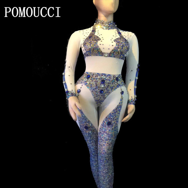 Women New Glisten Rhinestone Sexy Jumpsuit Long Sleeves Nightclub Performance Party Celebrate Luxurious Costume Dance Clothing