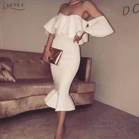 Adyce 2017 Sexy Summer Women Bodycon Dress Clubwear White Butterfly Sleeve Patchwork Ruffles Vestidos Celebrity Party