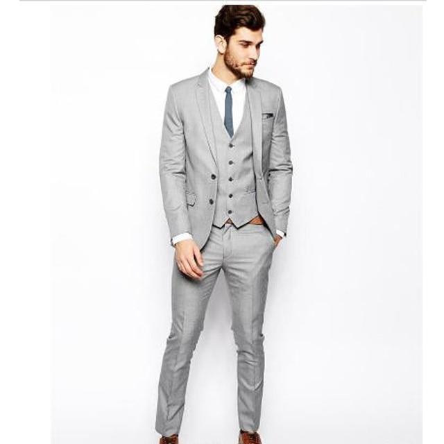 Custom Made SILVER Men\'s Wedding Suits 2017 Groom Tuxedos Jacket+ ...