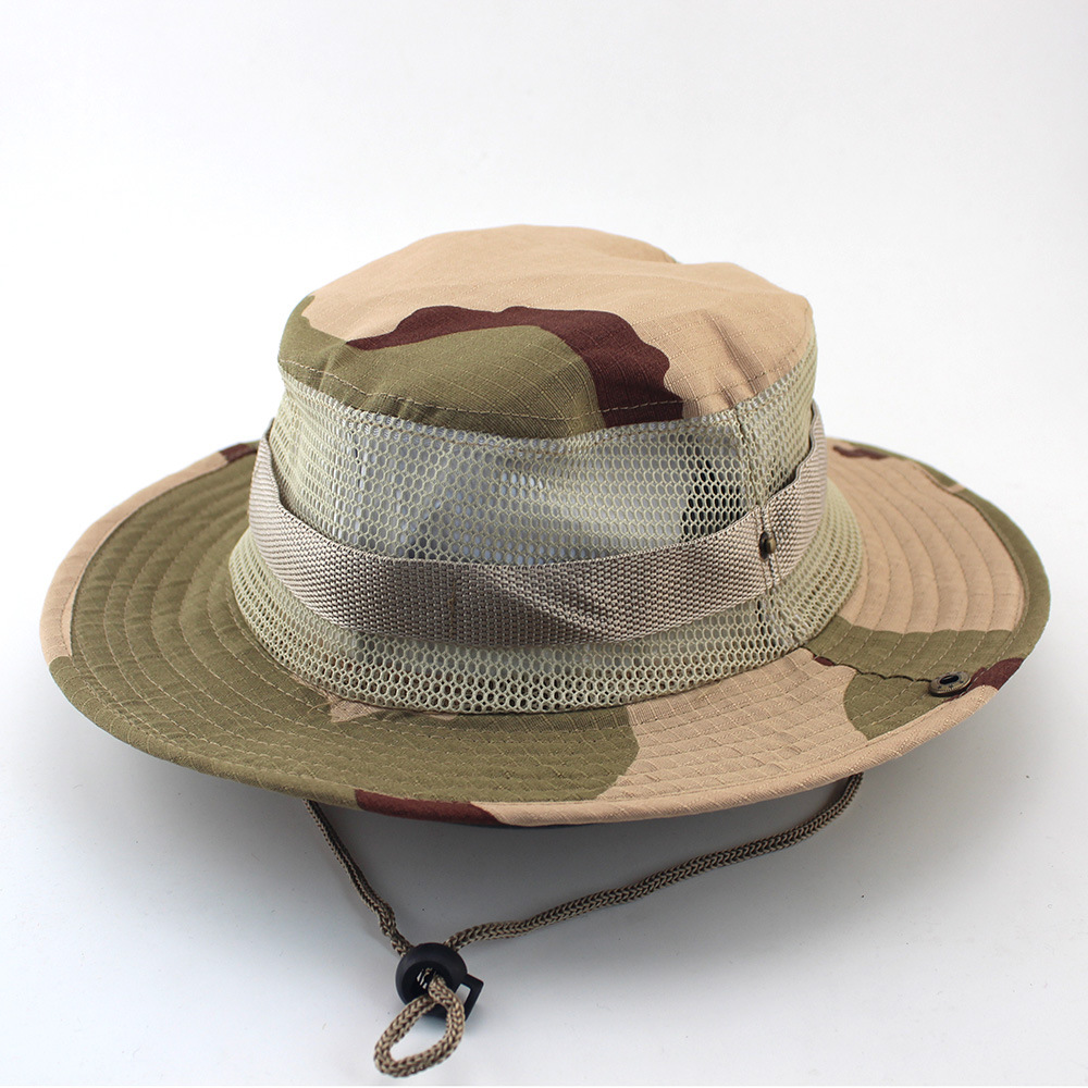 7dad8c3bc53 New Military Camouflage Vent Bucket Hats Sunscreen Mesh Hats Fisherman Sun  Protection Wide Brim Hats Outdoor Hiking Hunting -in Bucket Hats from  Apparel ...