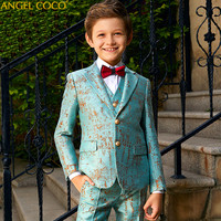 Blue Blazers For Boys Suits Blazers British Children's Dress Boys Suits For Weddings Performance Suit Jacket Costume Garcon