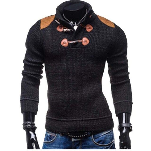 Мужская вязать свитер 2017 новый Тонкий с длинными рукавами кнопку воротник свитера мужская мода личности MJ2335