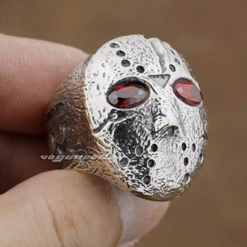 Halloween Jason Mask Hockey 925 Sterling Silver Mens Biker Rocker Ring 9D004