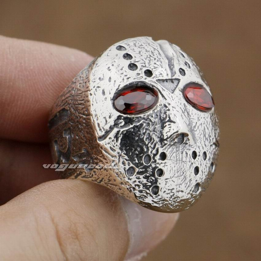 Halloween Jason masque Hockey 925 en argent Sterling hommes motard anneau à bascule 9D004 - 6
