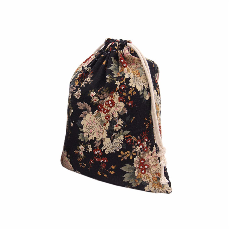 Peony Printing Drawstring Beam Port Candy Bags for shopping travelling as lovely gift M L Size