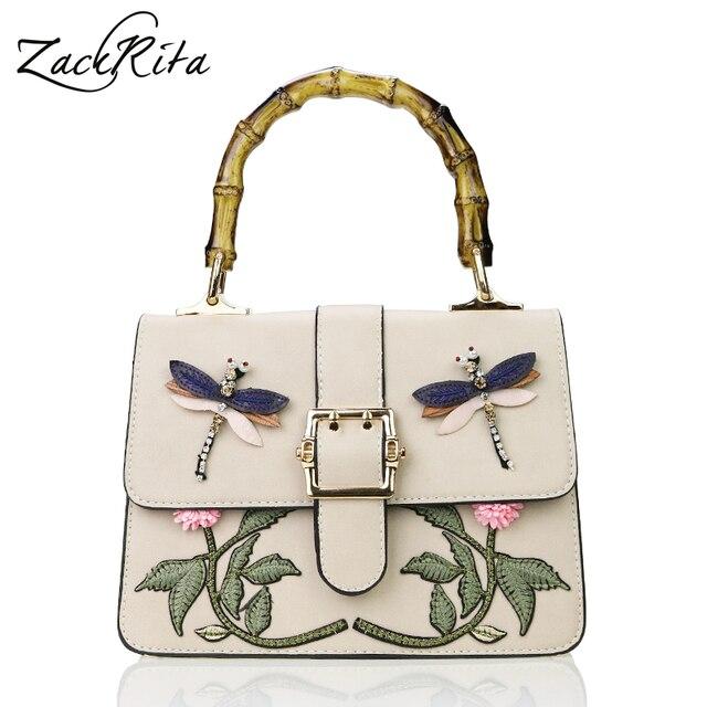 168afd08f67d Zackrita Для женщин модные роскошные Вышивка животного цветок бамбуковой  ручкой кожаная женская сумка сумки сумка SAC