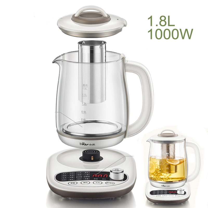 15% JA38,Multifunction Glass Electric Kettle 1.8L Large Capacity Automatic Tea Pot Brewer 220V Knob 1000W Control Health Pot цены онлайн