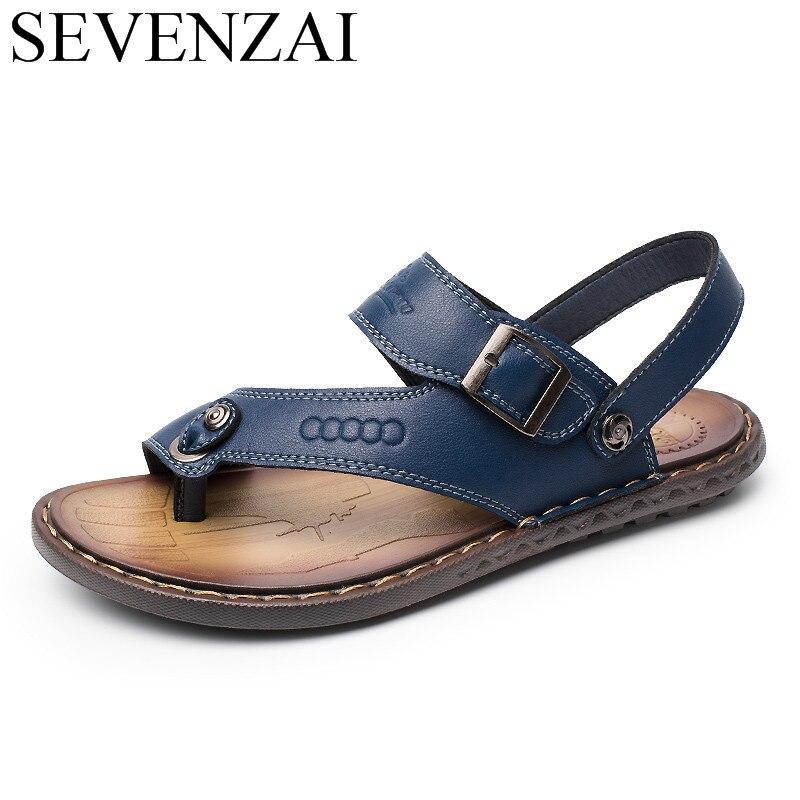 sandals mens summer leather leisure shoes luxury italian brand male shoes adult designer breathable flats slides sandals for men
