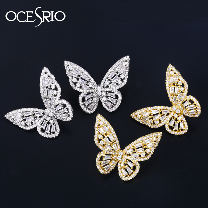 Luxury Cubic Zirconia Butterfly Earrings For Women Girls  Gold Silver Color Crystal Wedding Stud Earrings Pendientes  Ers-q68