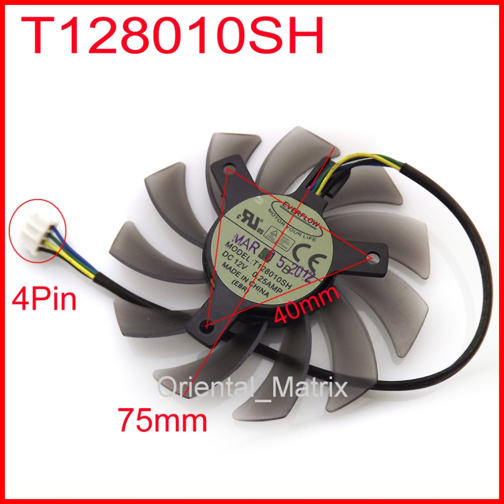 Free Shipping EVERFLOW T128010SH 12V 0.25A 75mm 40x40x40mm For ASUS GTX560 HD5870 Graphics Card Cooling Fan 4Wire 4Pin