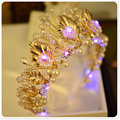 Super Shiny Light Headband For Women Gold Plated Crystal Flower Wreath Pearl Jewelry Hairband Blue light Glowing Crown SG106