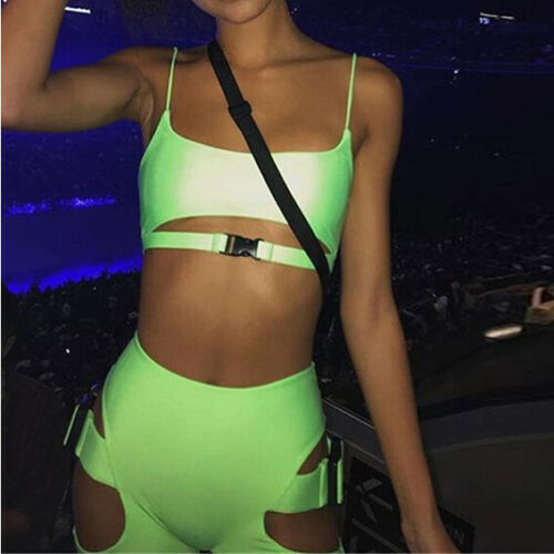 >Neon Green Two Piece Set Top Pants Tracksuit Women Hollow Buckle <font><b>Biker</b></font> <font><b>Shorts</b></font> Sexy Club <font><b>Outfits</b></font> 2 Pcs Festival Clubwears Femme