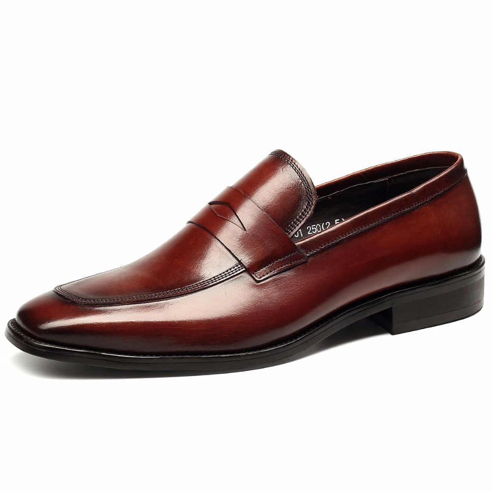 Hot Mens Genuine Leather Business Dress Shoes Flats Spring Autumn Mens High Quality Breathable Small Square Head Shoes Loafers