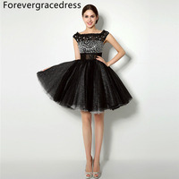 Forevergracedress Real Zdjęcia Czarny Linia Sukienka Koktajlowa Sexy Paciorkami Kryształy Krótki Homecoming Wieczorne Party Suknia Plus Size