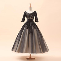 2015 Vintage Design Half Sleeve Ankle Length Black Lace Short Wedding Dresses Vestidos De Noiva Custom