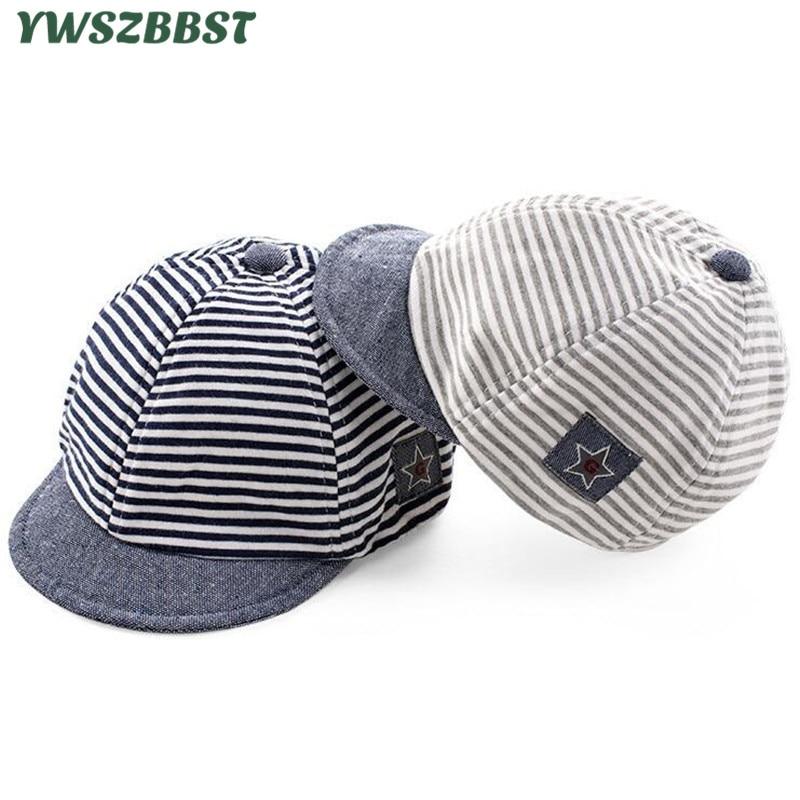 Summer Baby Hat Cotton Children Sun Cute Star Striped Soft Eaves Baseball Cap Boy Girls